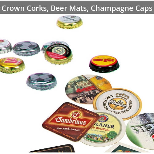 For Crown Corks, Beer Mats & Champagne Caps