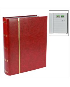 Stockbook with 48 White Pages Red
