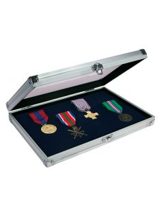 Safe Albums Aluminium Showcase with Velvet Inlay for Pins, Badges and Collectables, with Clear Top to Showcase Your Collection