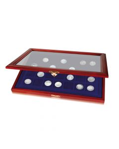 Coin display case with square compartments