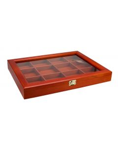 Wooden Showcase with Real Glass 12 Compartments  - Woody