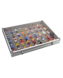 Aluminium Display Case With 45 Spaces. Ideal for Lego, Mineral, Fossil or Figurine Collections and Storage.