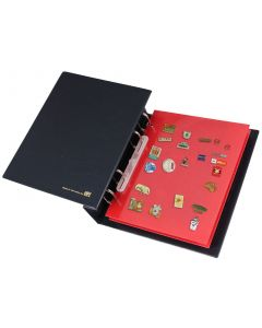 Album for Pins and Lapel Badges with Red Velvet Pages
